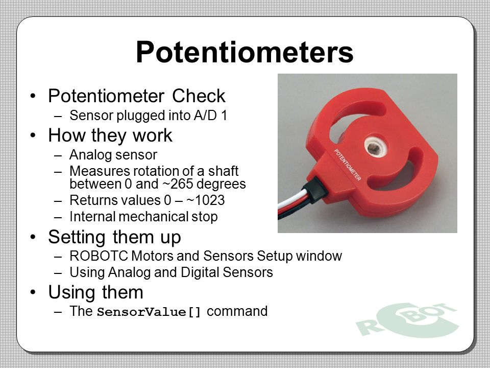 Potentiometers Potentiometer Check How they work Setting them up
