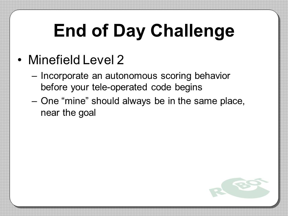 End of Day Challenge Minefield Level 2