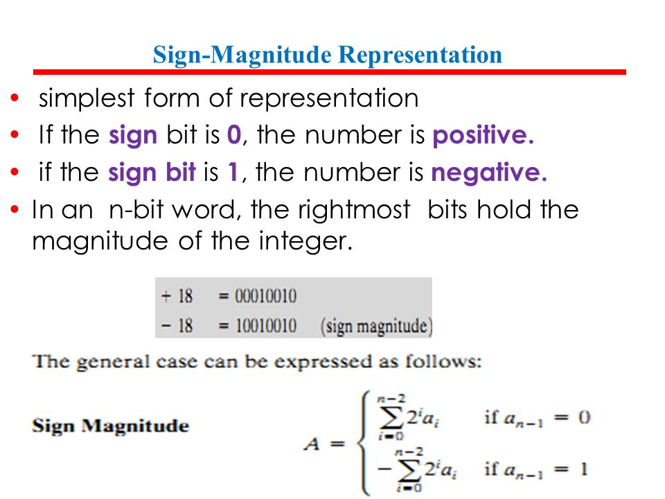 sign magnitude representation binary options
