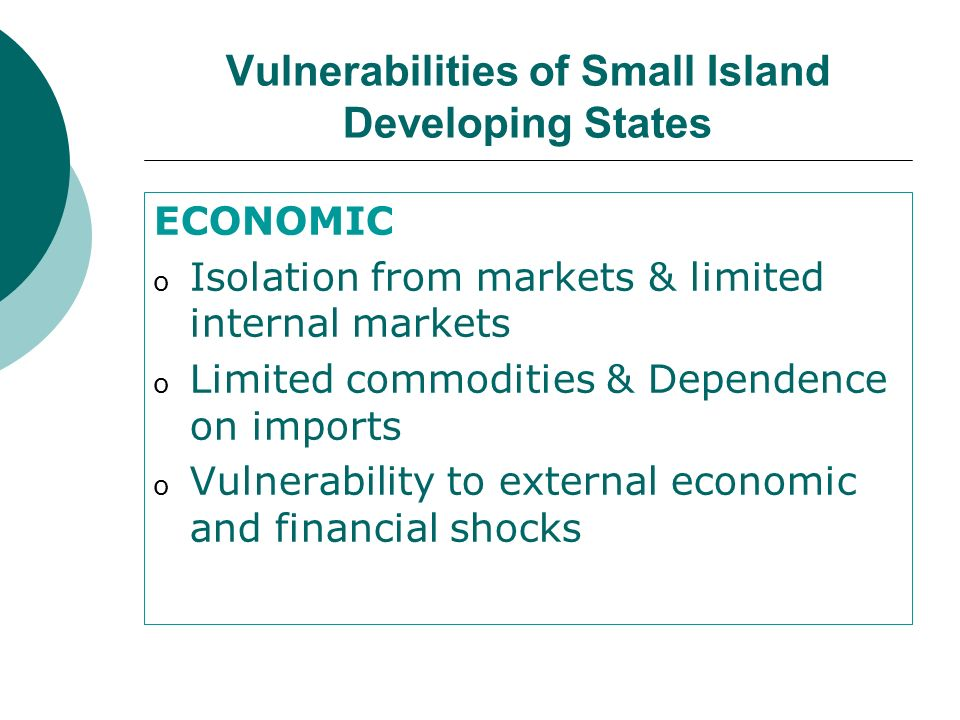 Vulnerabilities of Small Island Developing States