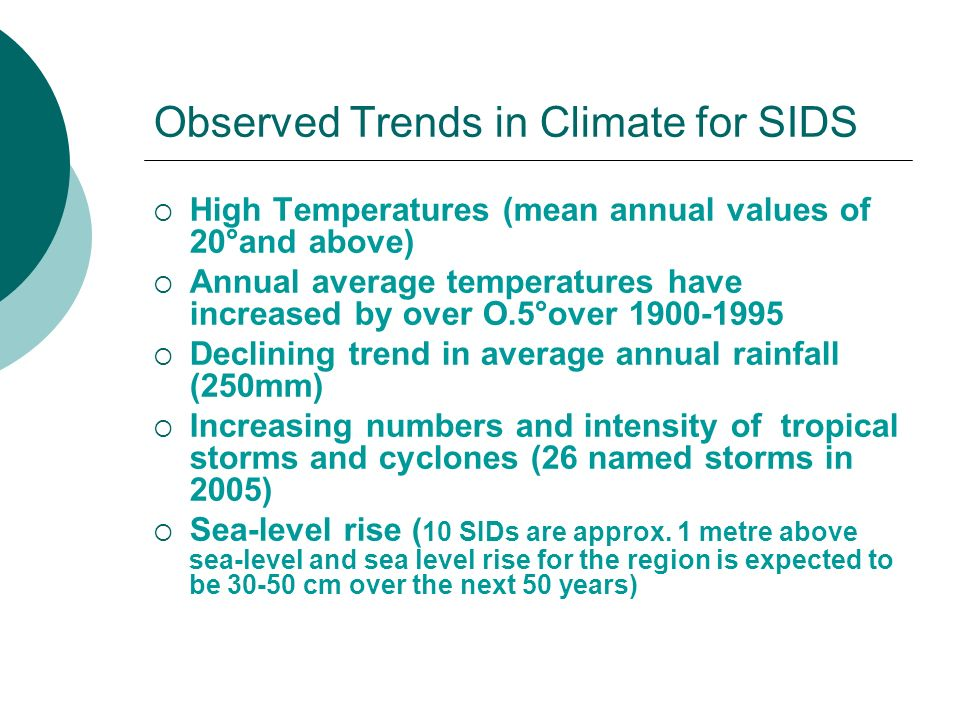 Observed Trends in Climate for SIDS
