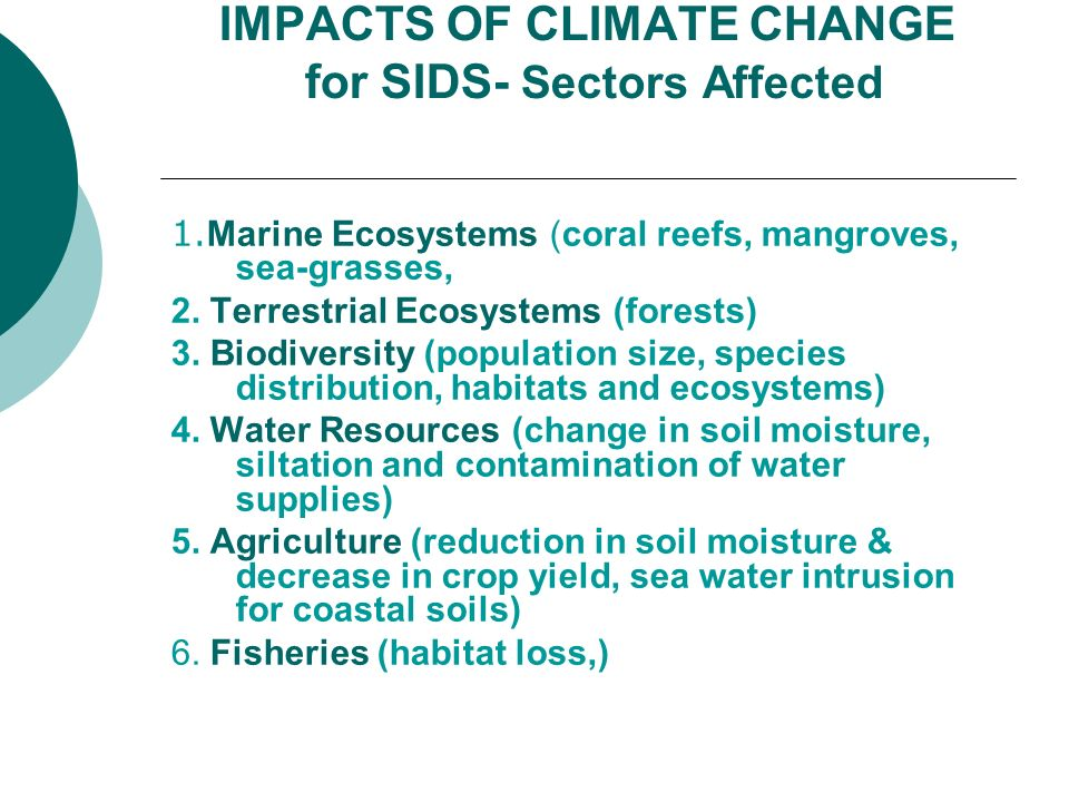 IMPACTS OF CLIMATE CHANGE for SIDS- Sectors Affected
