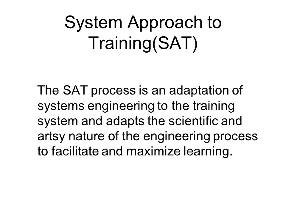 Systems Approach to Training Course