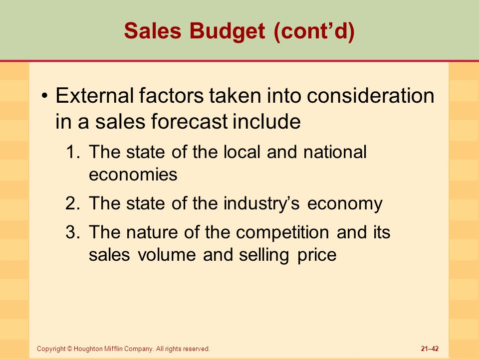 factors that affect sales forecast Sales forecasting factors to consider - learn sales forecasting in simple and  easy  factors with great detail because they cannot control or influence them.