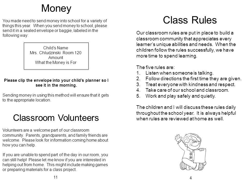 Mrs. Chludzinski's Kindergarten Classroom Handbook Room ...