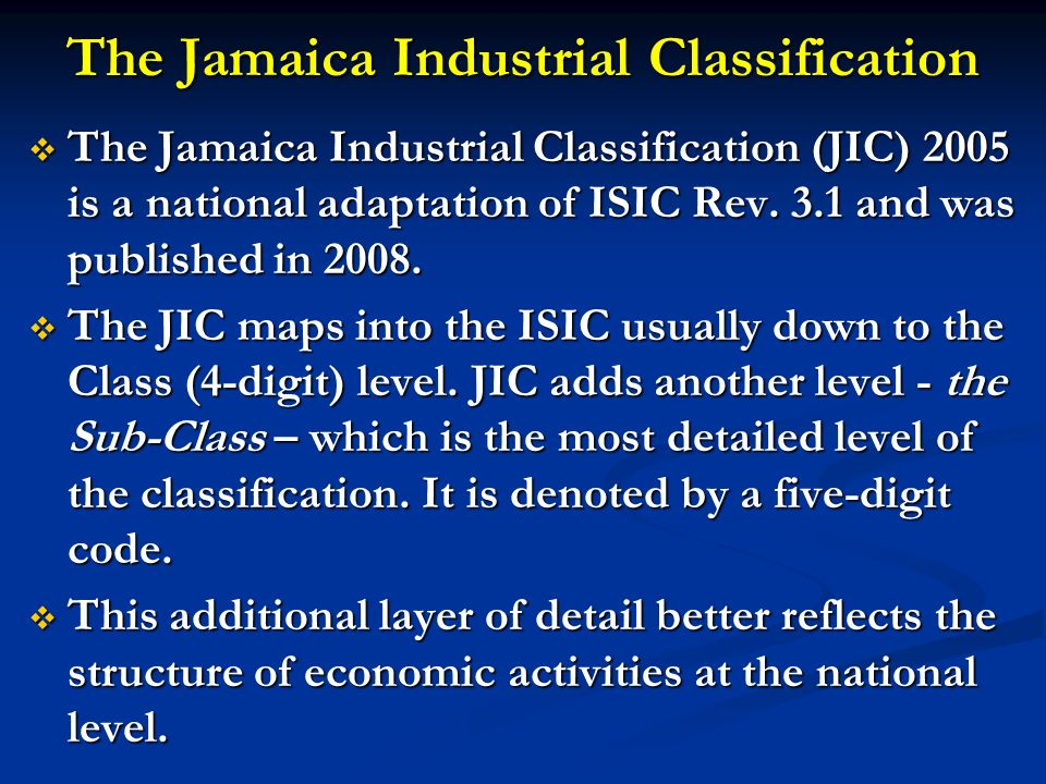 The Jamaica Industrial Classification
