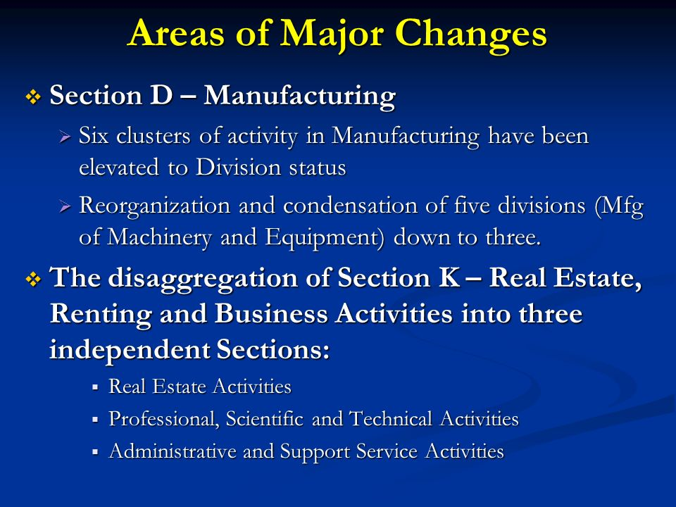 Areas of Major Changes Section D – Manufacturing