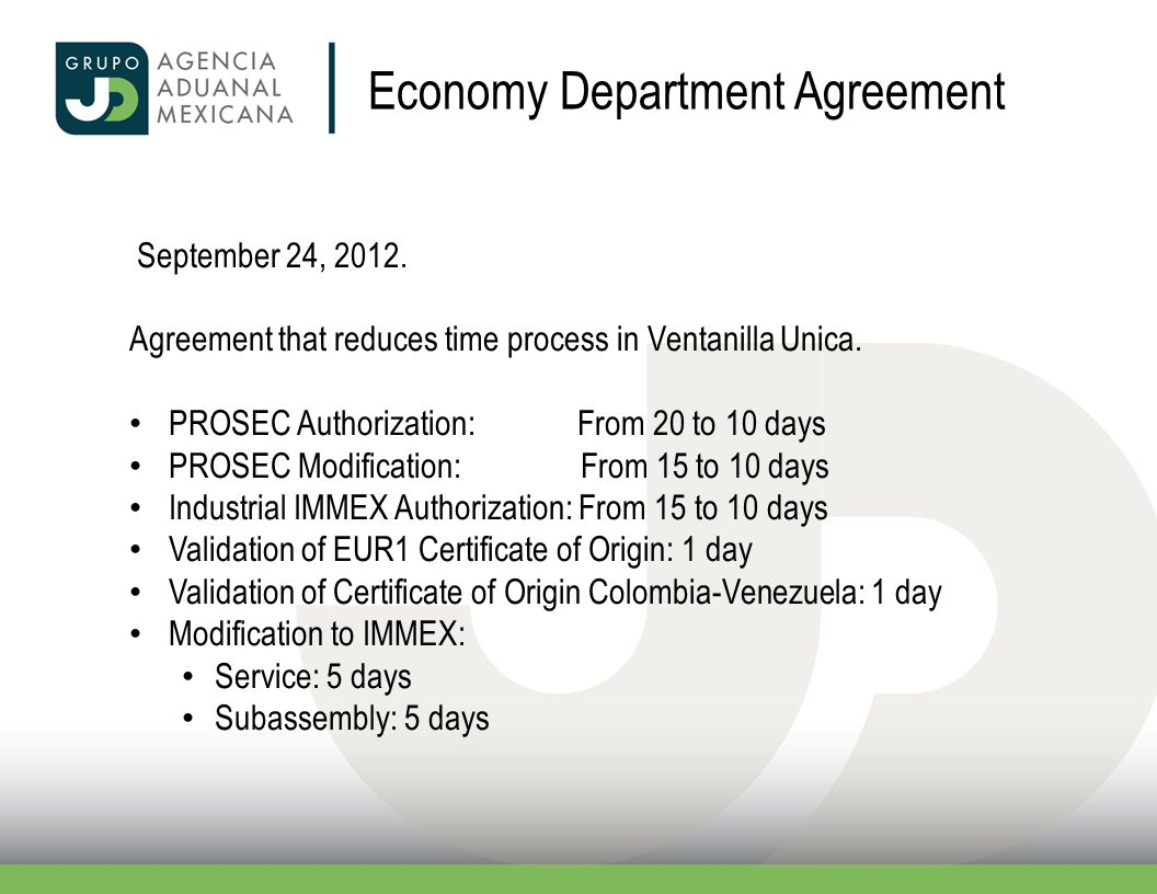 Economy Department Agreement