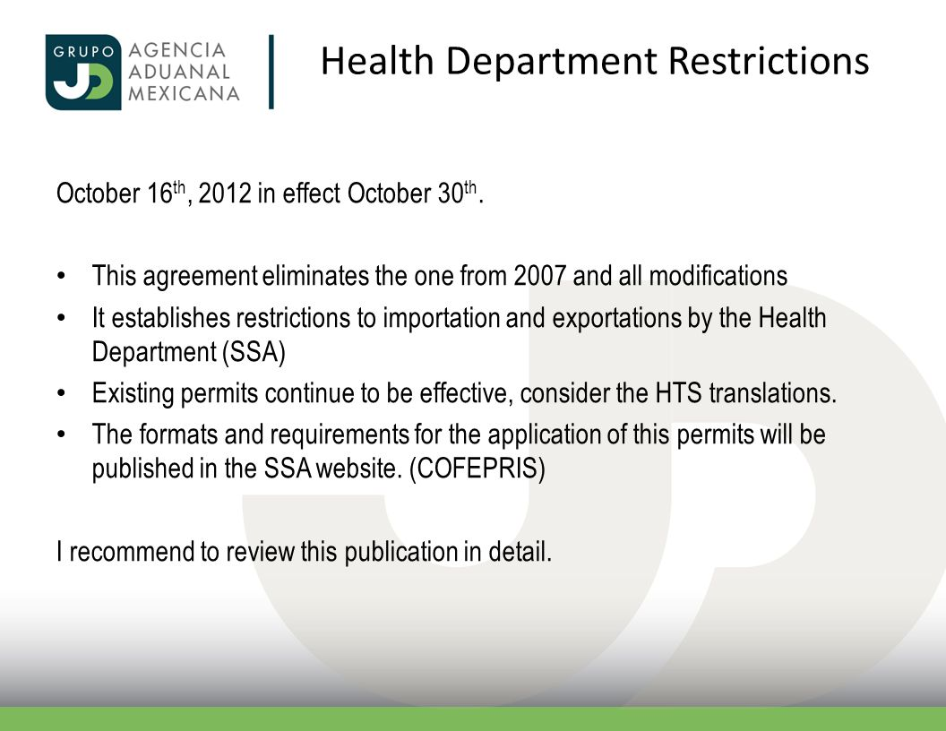 Health Department Restrictions