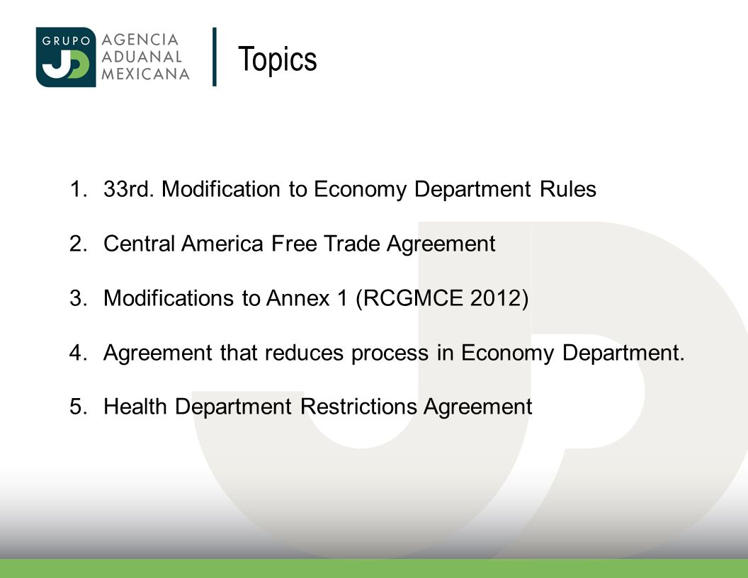 Topics 33rd. Modification to Economy Department Rules