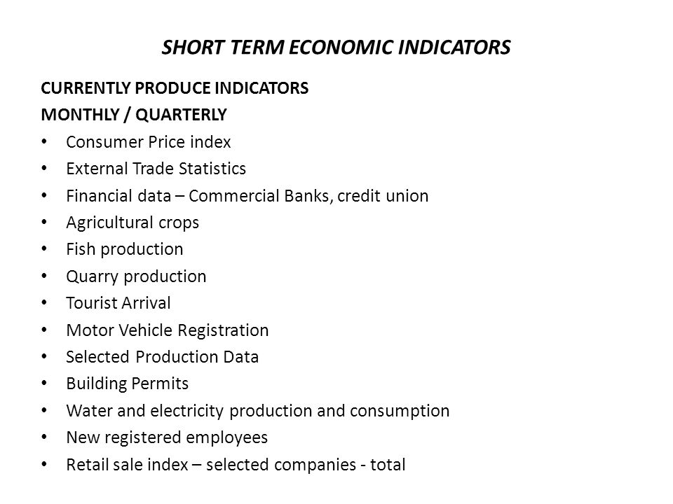 SHORT TERM ECONOMIC INDICATORS