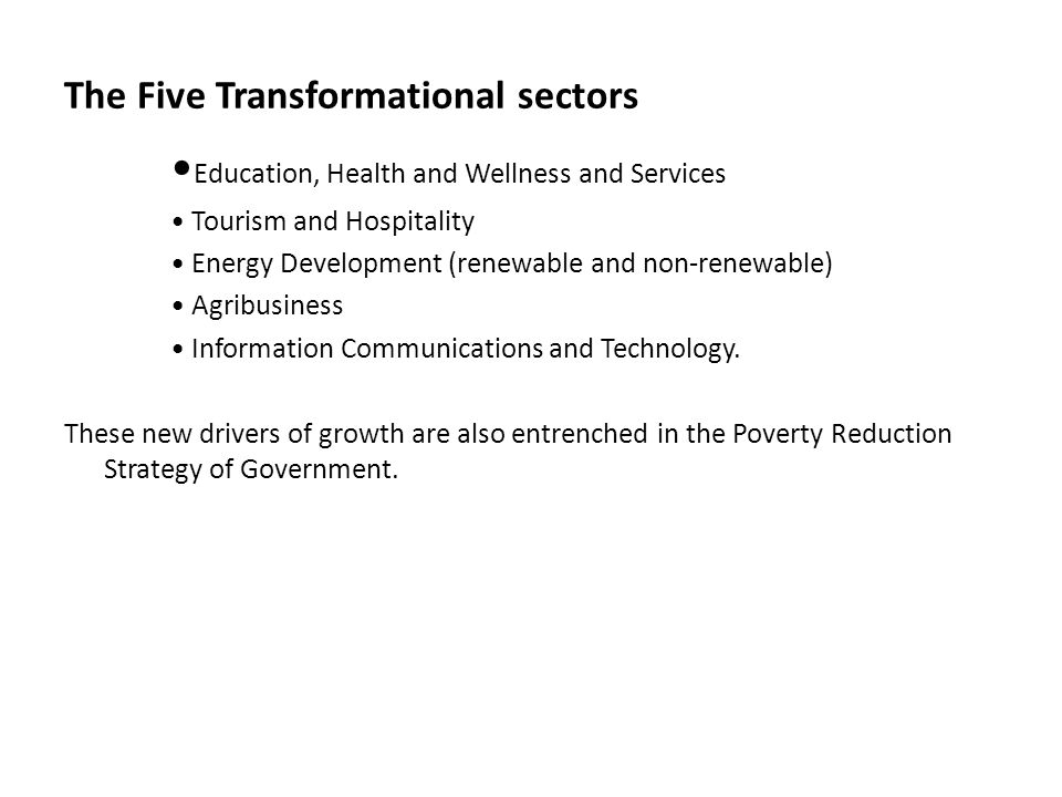 The Five Transformational sectors