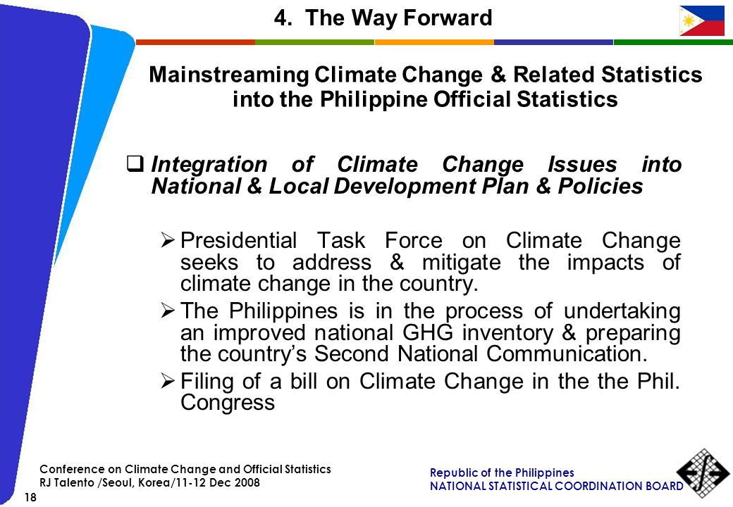 Filing of a bill on Climate Change in the the Phil. Congress