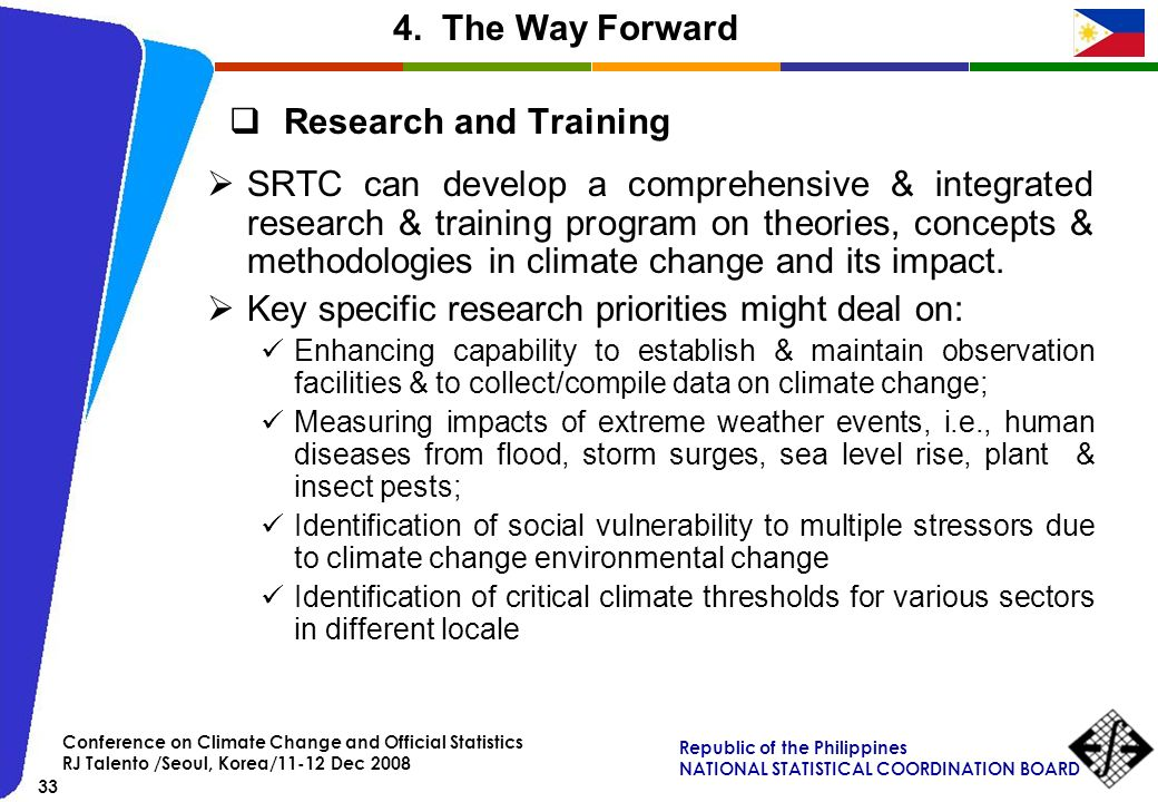4. The Way Forward Research and Training