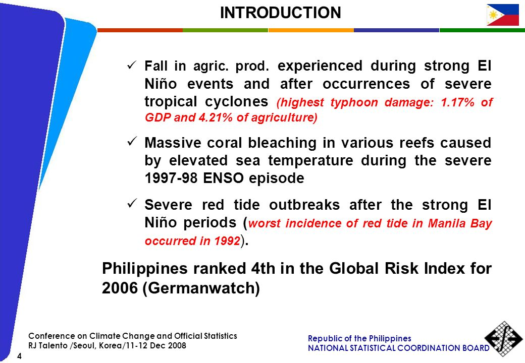 Philippines ranked 4th in the Global Risk Index for 2006 (Germanwatch)