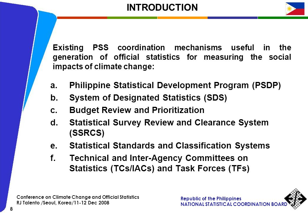 INTRODUCTION Philippine Statistical Development Program (PSDP)