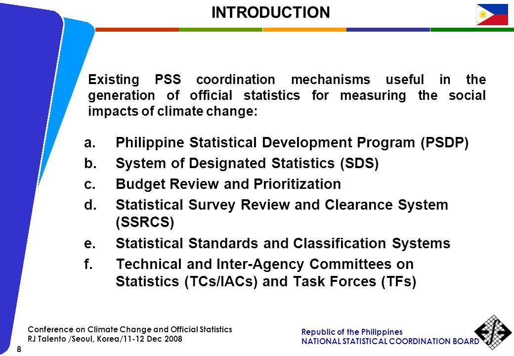 INTRODUCTION Philippine Statistical Development Program (PSDP)