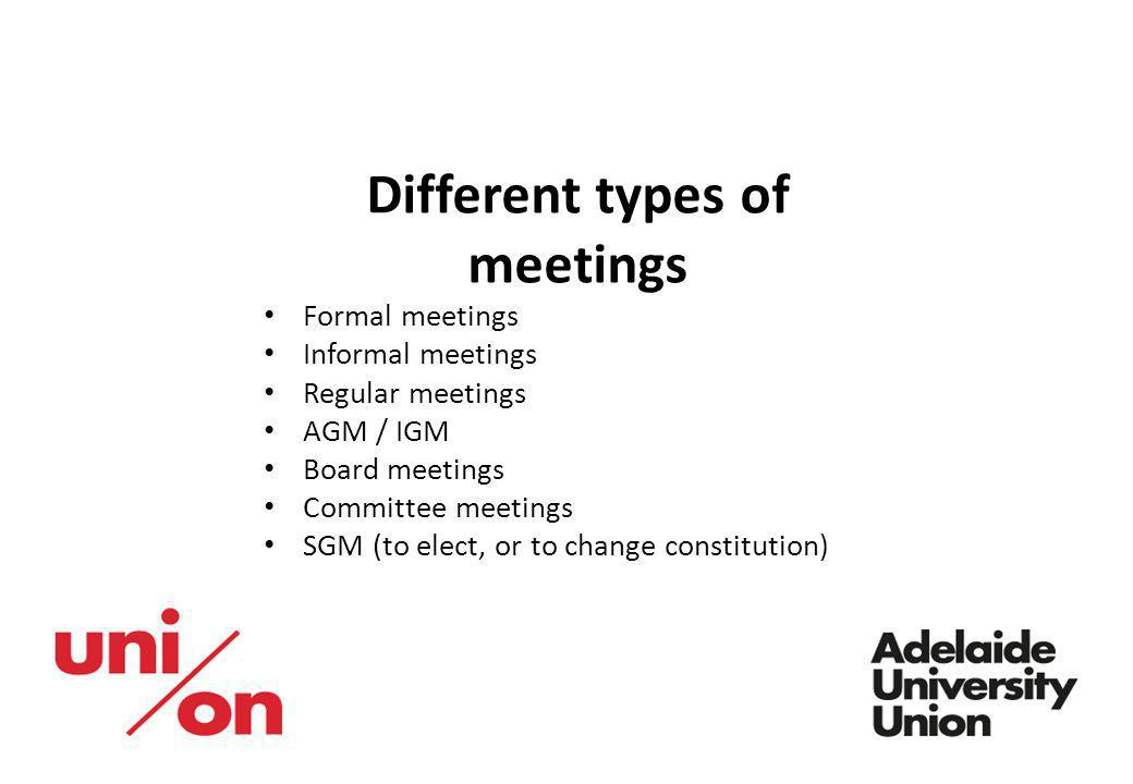 Different types of meetings