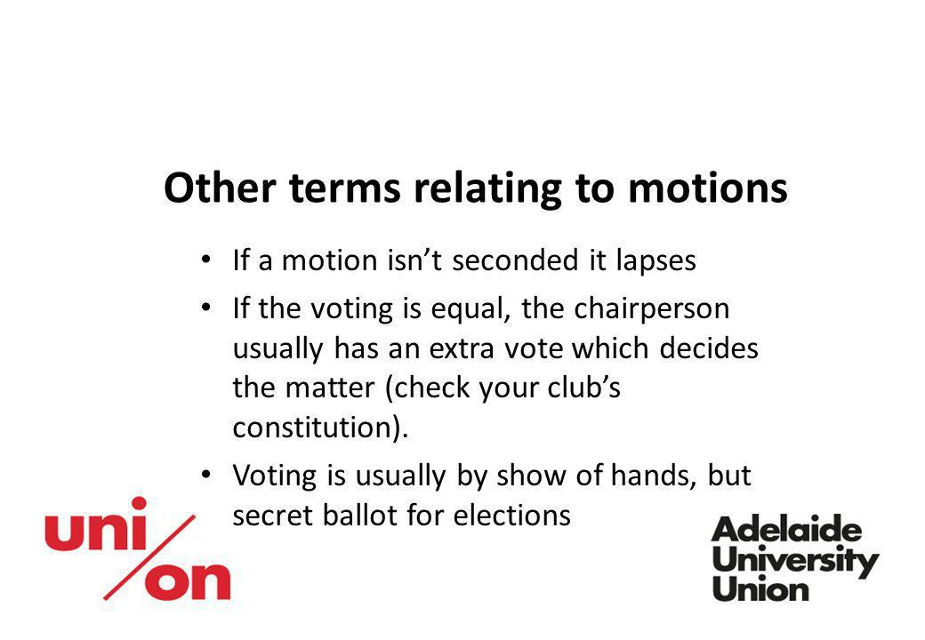 Other terms relating to motions