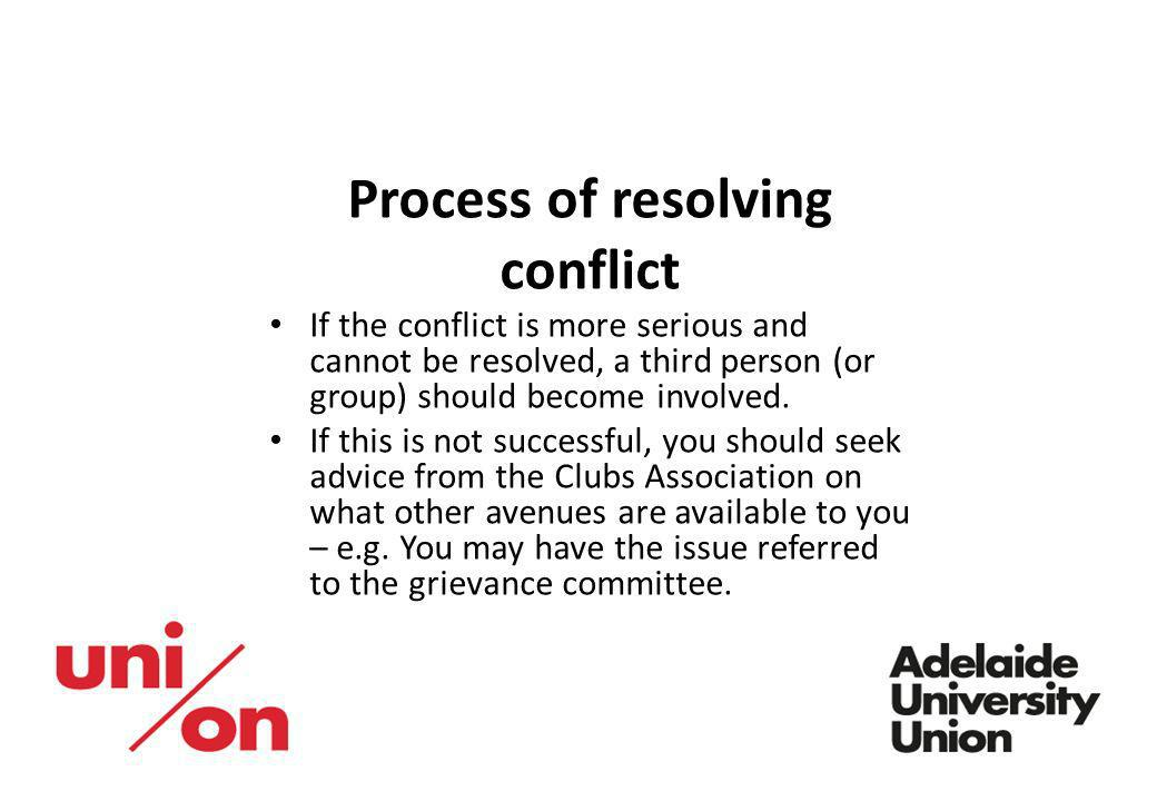 Process of resolving conflict