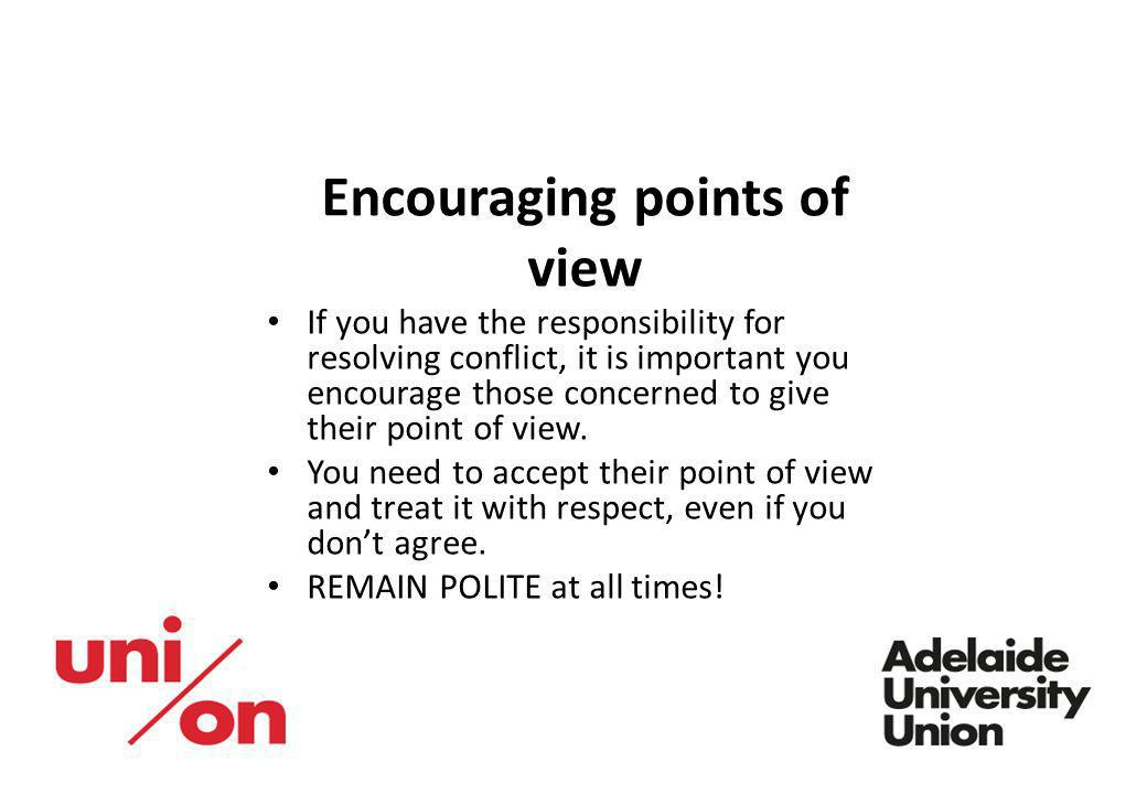 Encouraging points of view