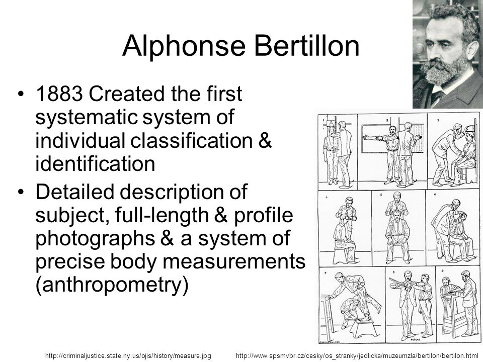 alphonse bertilon The bertillon system, also known as bertillonage, had a major  the young  alphonse bertillon had trouble settling on a career—he spent some.