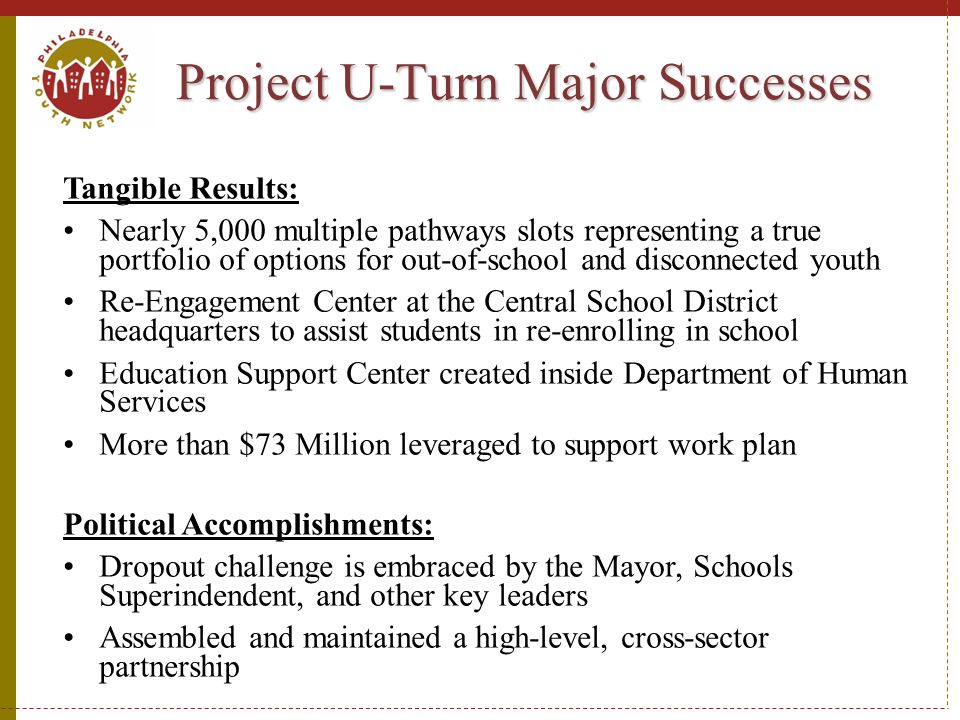 Project U-Turn Major Successes