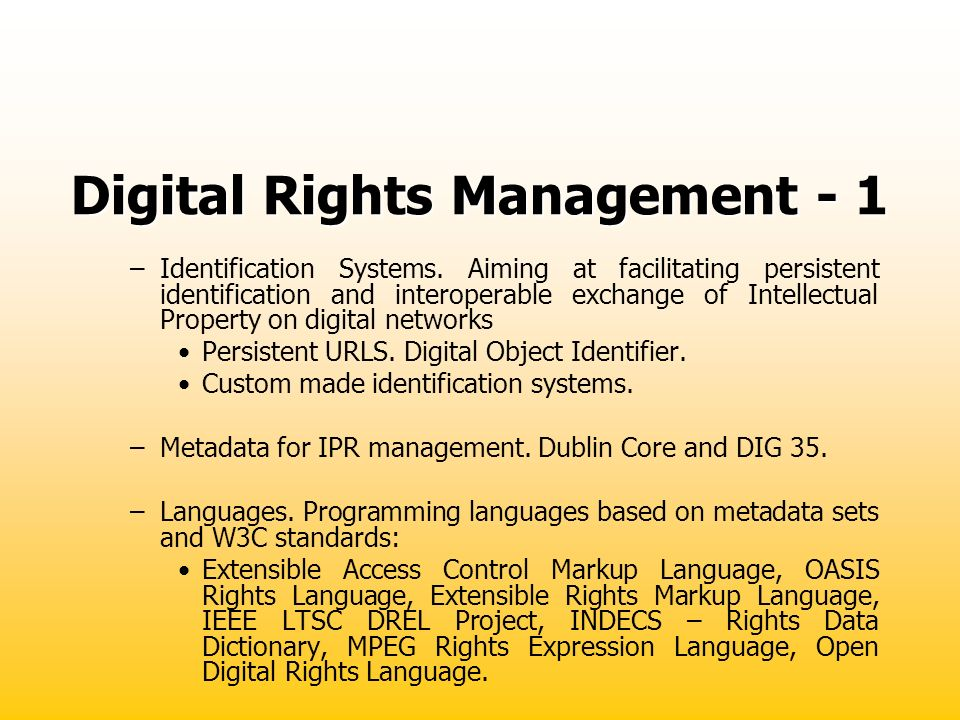 Digital Rights Management - 1