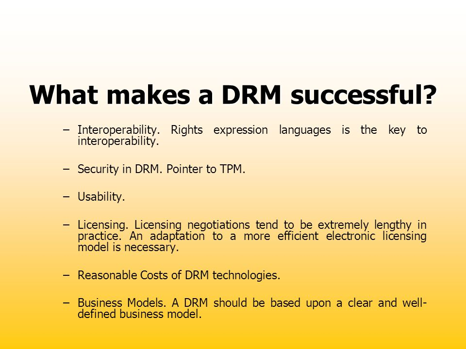 What makes a DRM successful