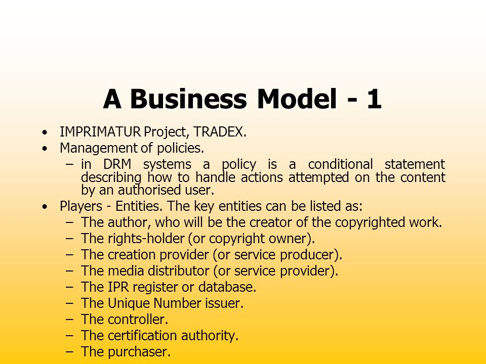 A Business Model - 1 IMPRIMATUR Project, TRADEX.