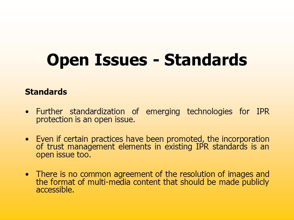 Open Issues - Standards