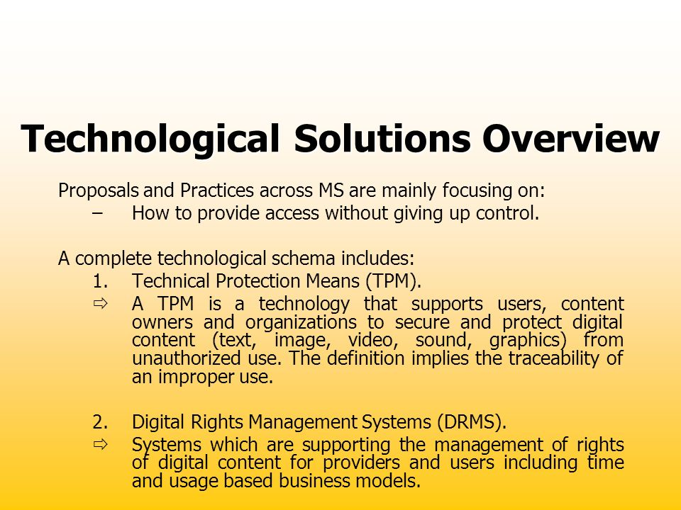 Technological Solutions Overview
