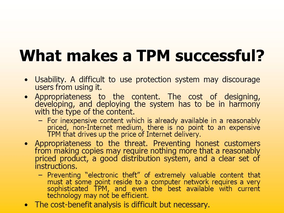 What makes a TPM successful