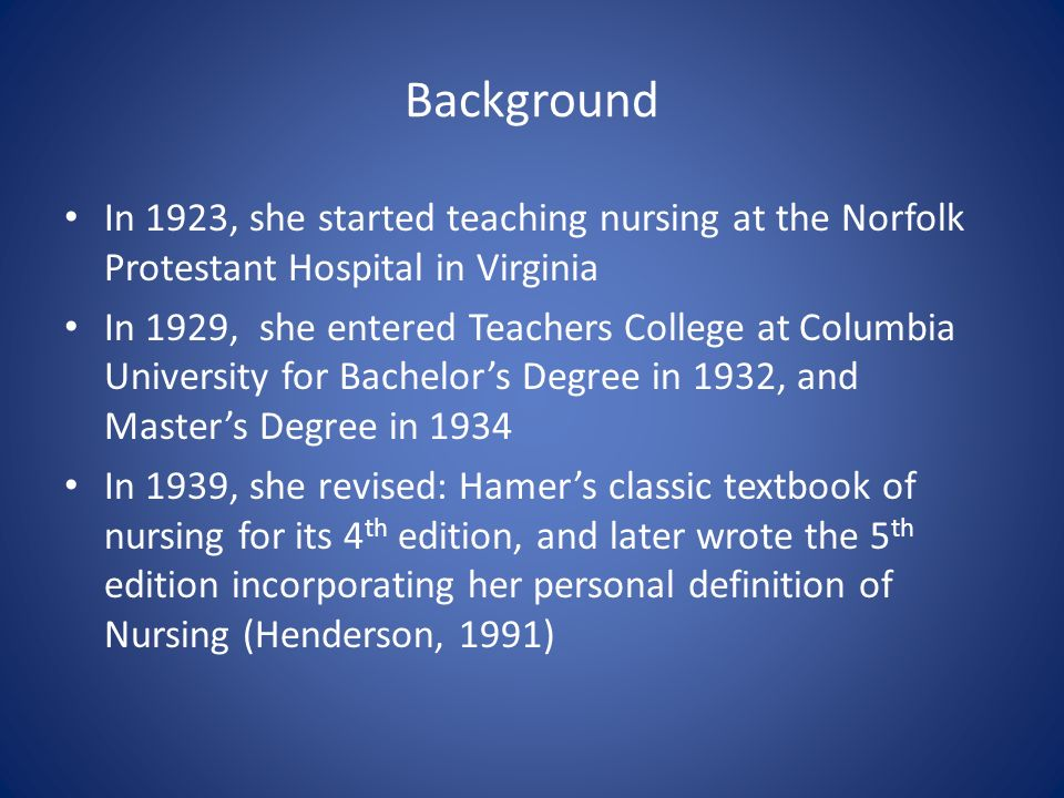 Virginia henderson theory presentation by kirsten kulkarni for Bachelor definition