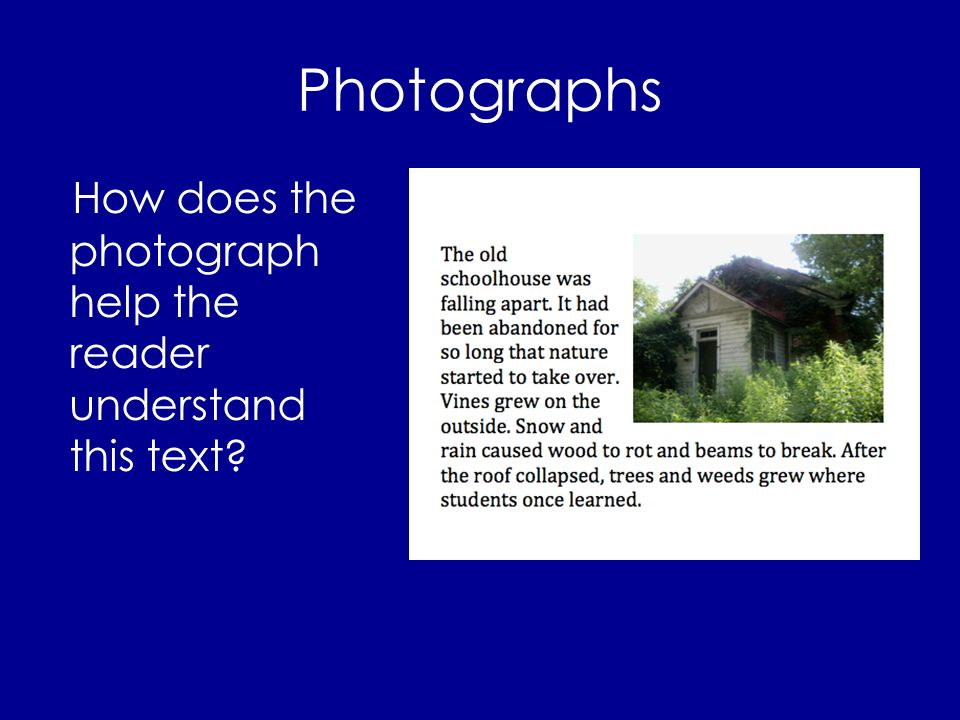 Photographs How does the photograph help the reader understand this text