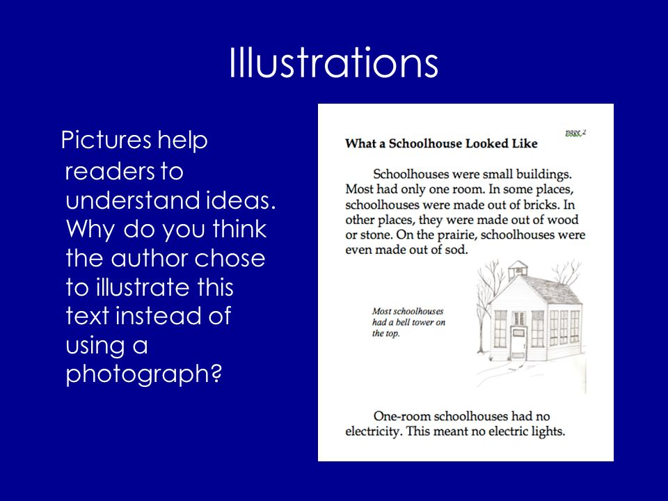 Illustrations Pictures help readers to understand ideas.