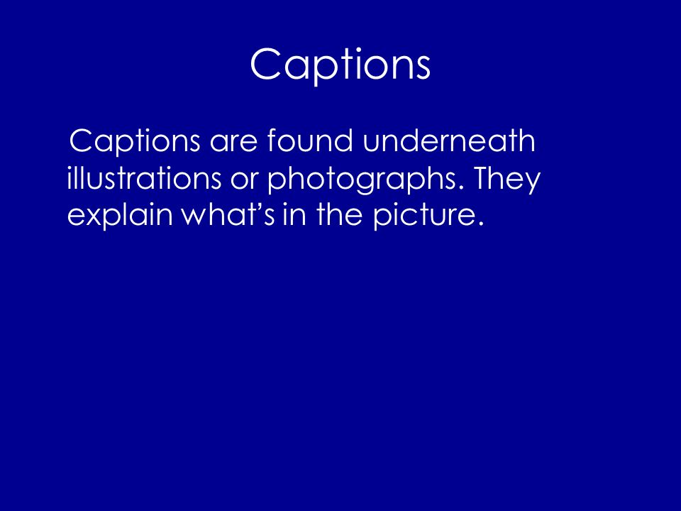 Captions Captions are found underneath illustrations or photographs.