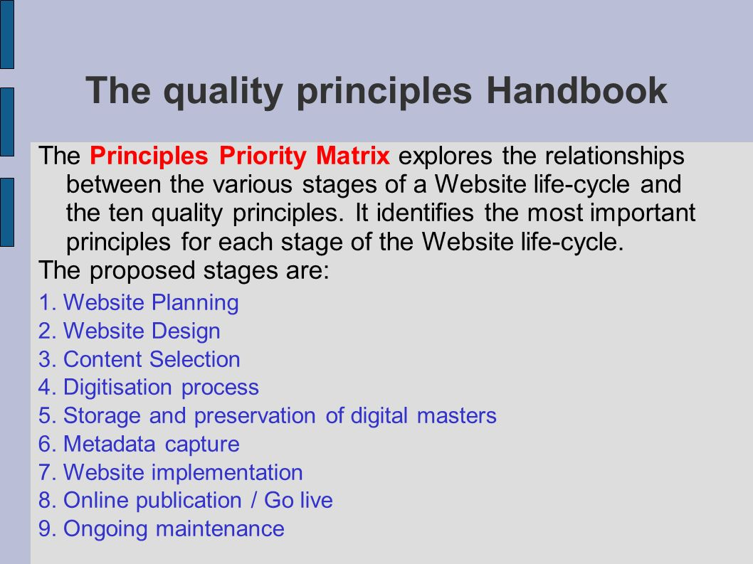The quality principles Handbook