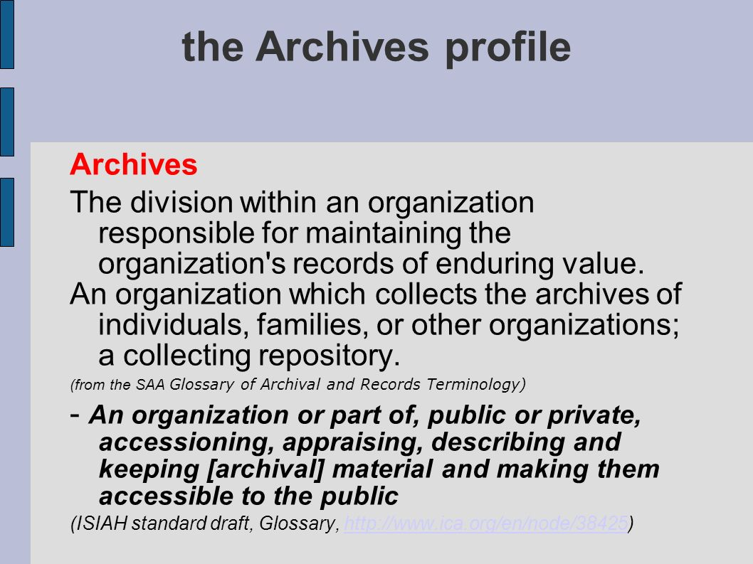 the Archives profile Archives