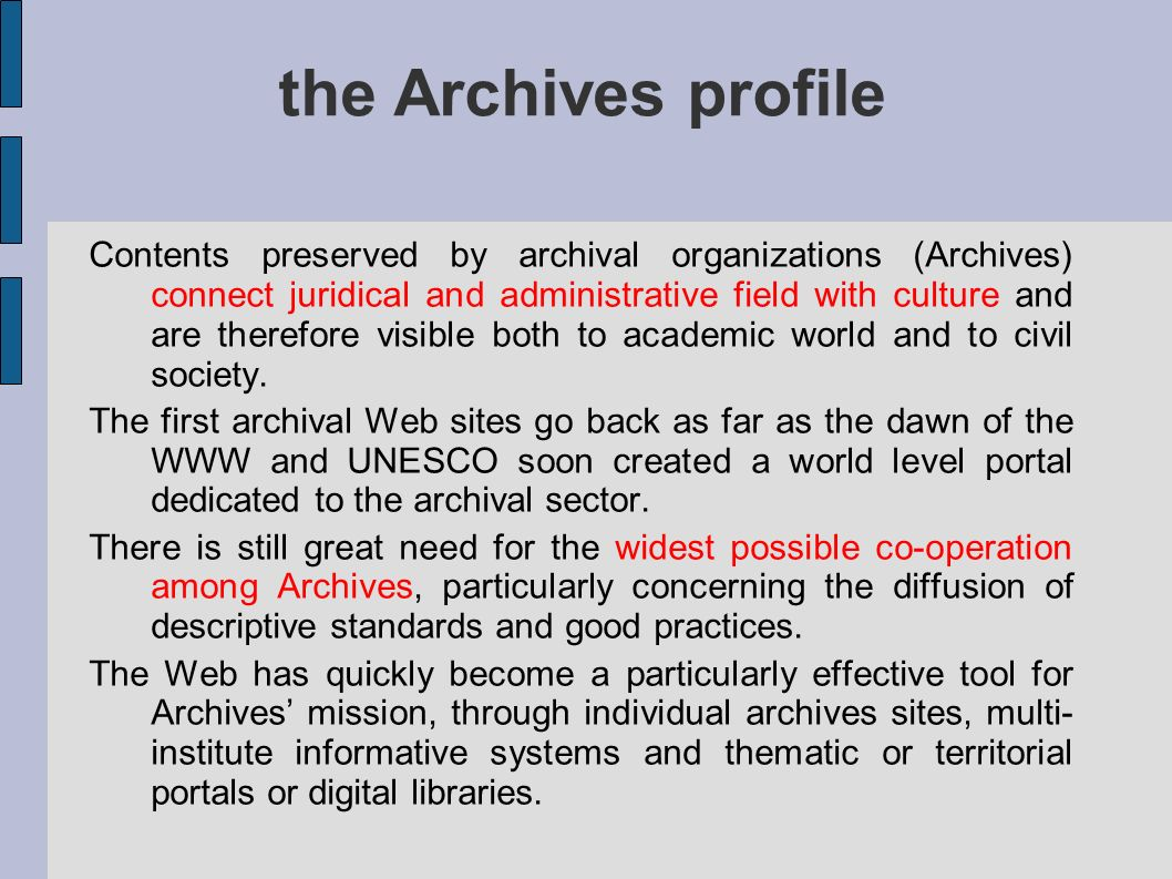 the Archives profile