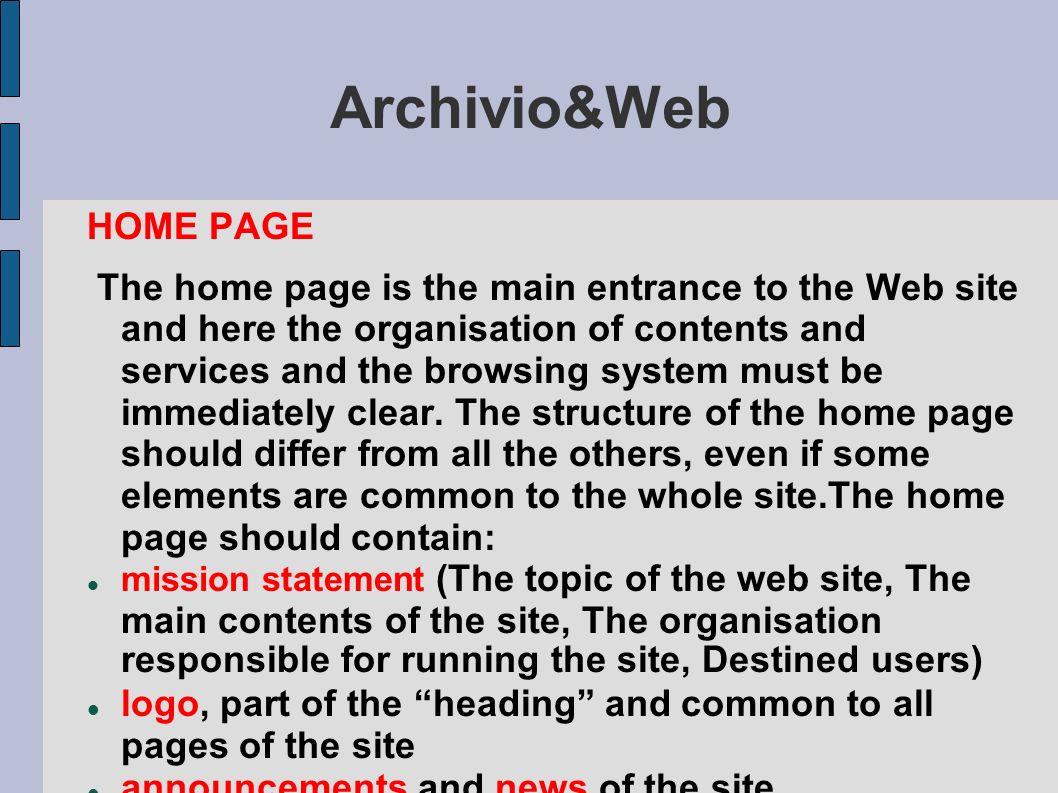 Archivio&Web HOME PAGE