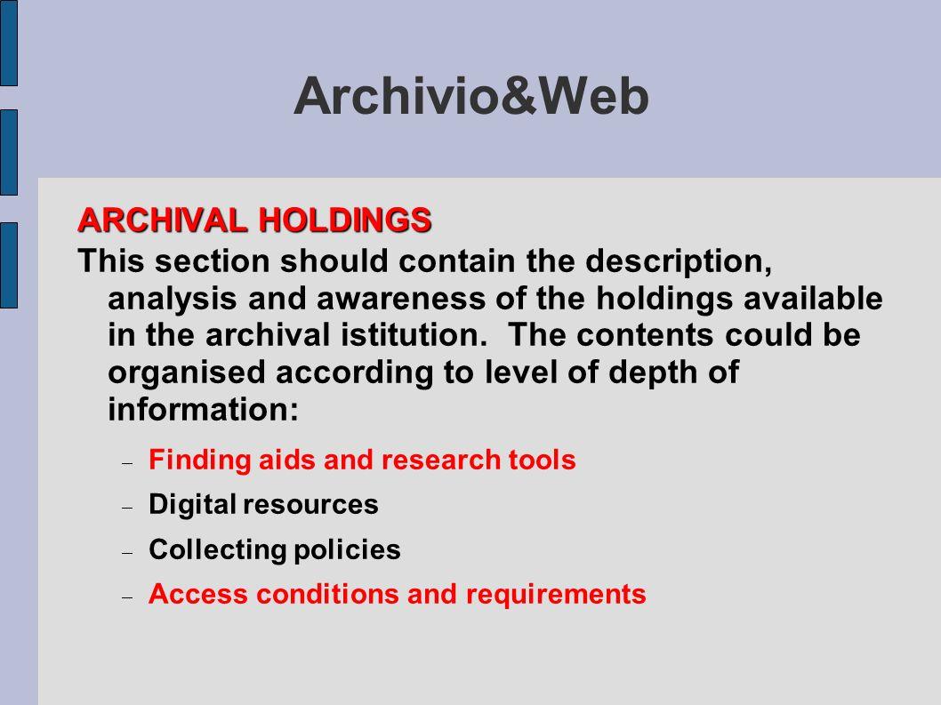 Archivio&Web ARCHIVAL HOLDINGS