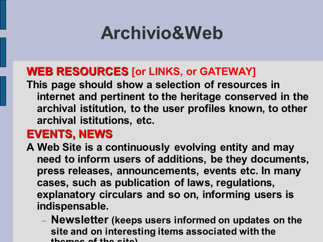 Archivio&Web WEB RESOURCES [or LINKS, or GATEWAY] EVENTS, NEWS