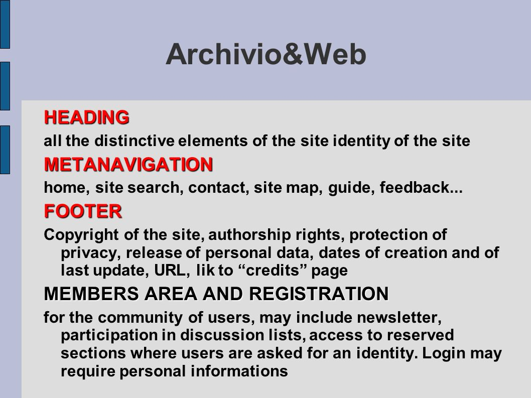Archivio&Web HEADING METANAVIGATION FOOTER