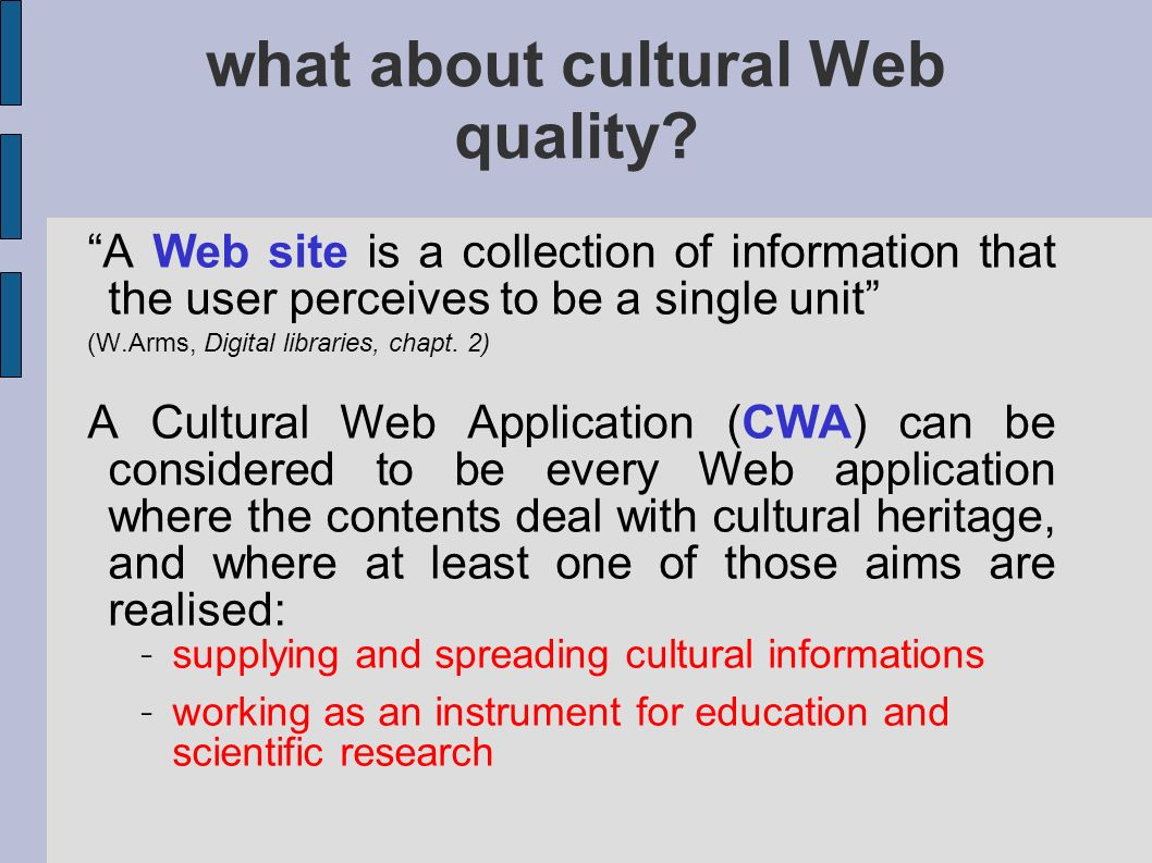 what about cultural Web quality