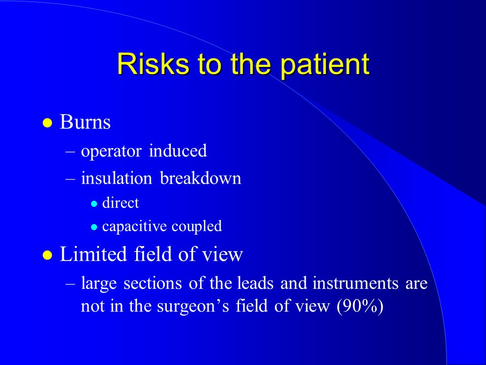 Risks to the patient Burns Limited field of view operator induced