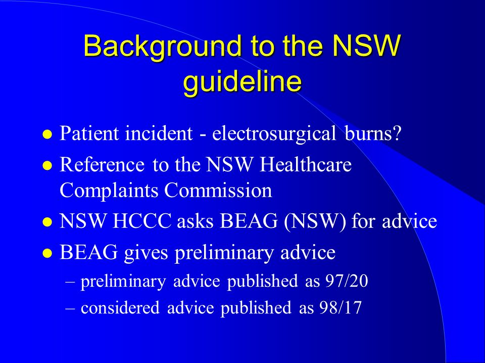 Background to the NSW guideline