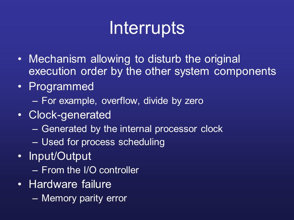 Interrupts Mechanism allowing to disturb the original execution order by the other system components.