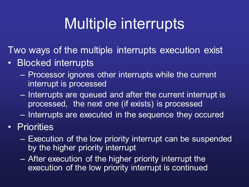 Multiple interrupts Two ways of the multiple interrupts execution exist. Blocked interrupts.