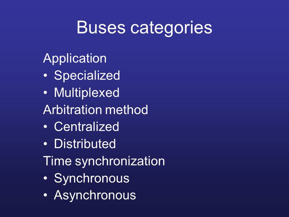 Buses categories Application Specialized Multiplexed
